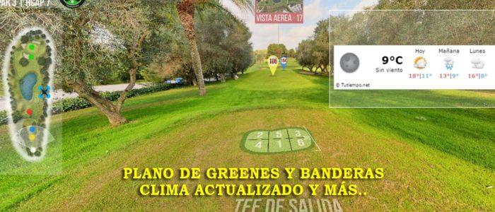 Recorrido Virtual Campo de Golf - Planos de Green- Posiciones Bandera - Yardas Tour