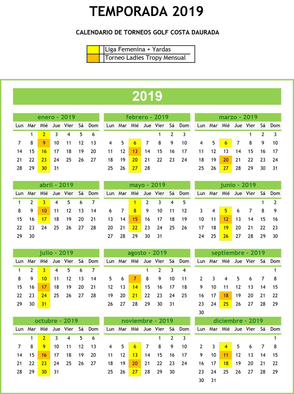 Calendario Liga Femenina.Liga Femenina Yardas 2019 Golf Costa Daurada Yardas Tour