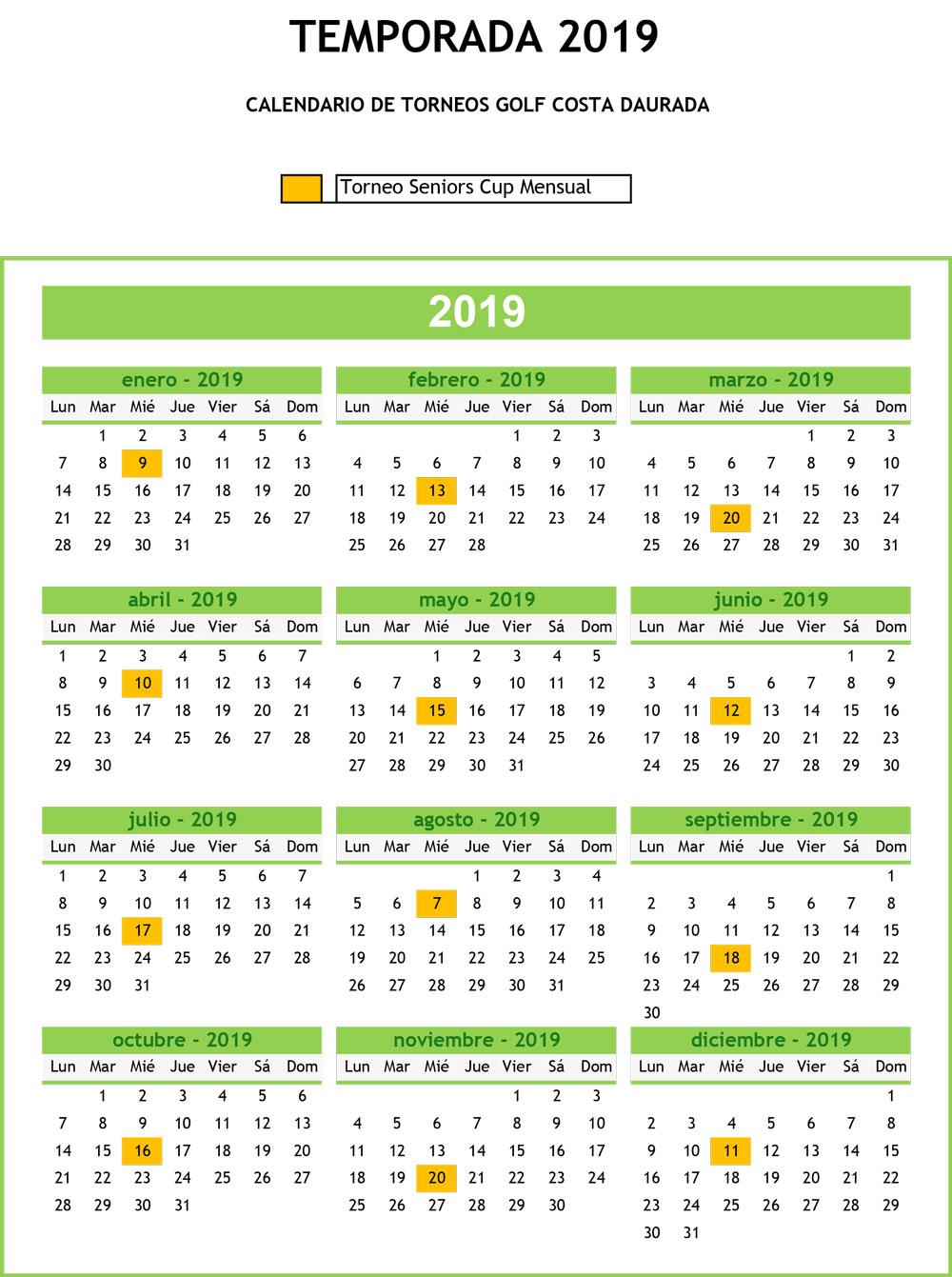 Calendario Circuito Seniors Cup 2019